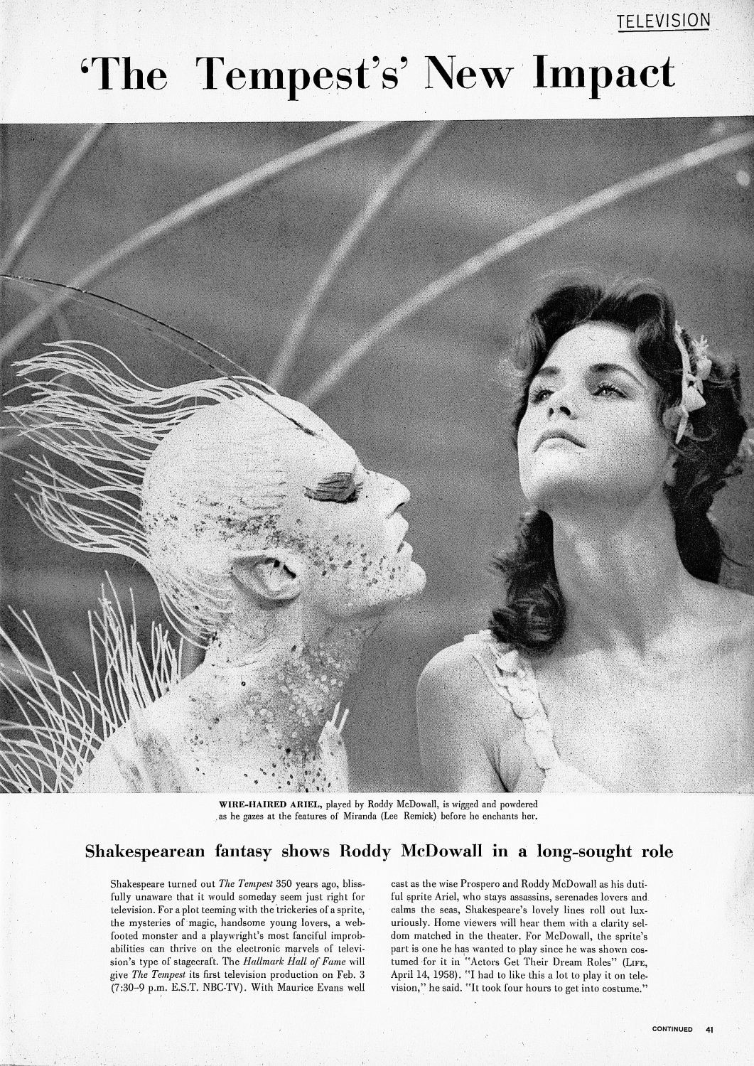 - Roddy McDowall and Lee Remick in the shot that made it into Life Magazine - Shakespeare - The Tempest - Richard Burton - Maurice Evans - Lee Remick - Roddy McDowall - NBC Television - Hallmark Hall of Fame - Tony Karp, design, art, photography, techno-impressionist, techno-impressionism, aerial photography , drone , drones , dji , mavic pro , video , 3D printing - Books -