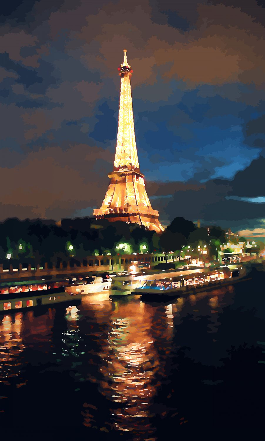 - Paris at night. The lights of the Eiffel Tower reflected in the Seine. - Paris, eiffel tower - - art  - photography - by Tony Karp