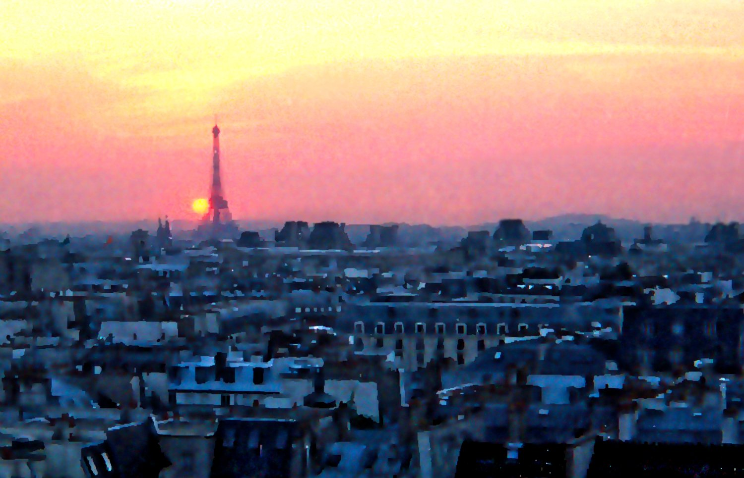 - Goodnight, Paris. A view across the city as the sun sets. - Paris, eiffel tower - - art  - photography - by Tony Karp