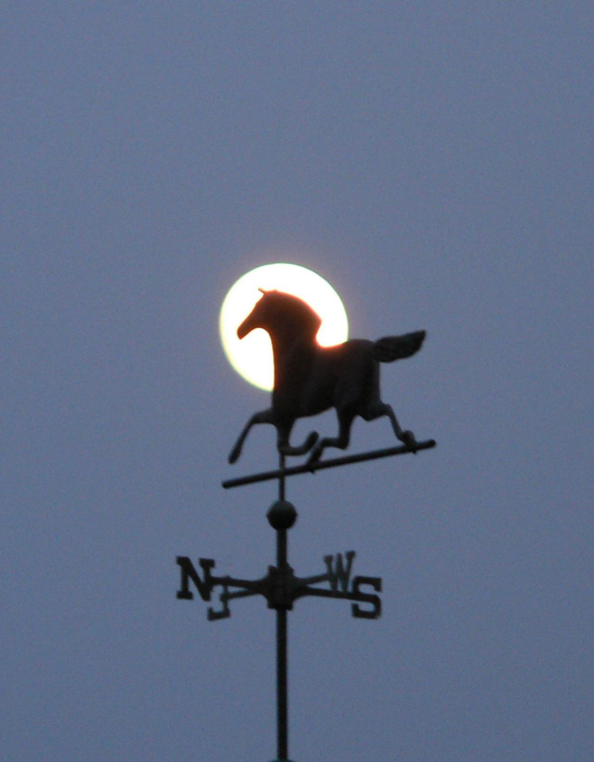 Moon against a horse weathervane - A tribute to the Apollo 11 astronauts - Tony Karp, design, art, photography, techno-impressionist, techno-impressionism, aerial photography , drone , drones , dji , mavic pro , video , 3D printing - Books -