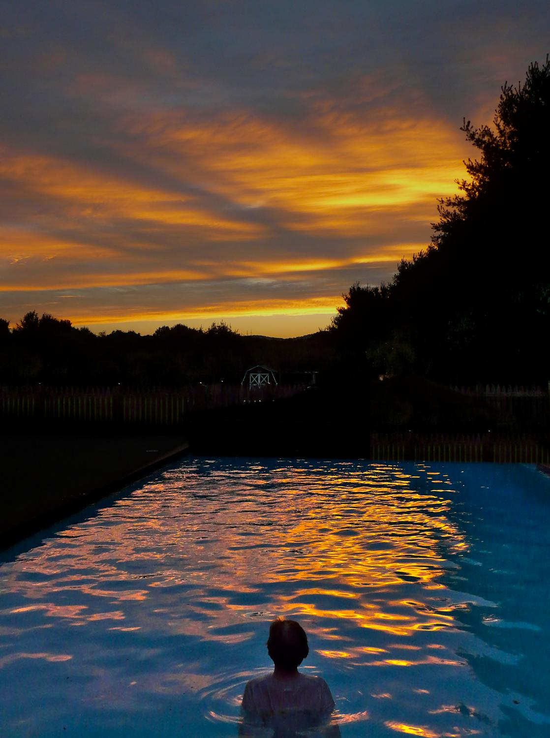 The artist's muse - the Hobbitt - in the pool at sunset #3 - The artist's muse at sunset -- DMC-FZ18 -  Panasonic DMC-FZ18 - Tony Karp, design, art, photography, techno-impressionist, techno-impressionism, aerial photography , drone , drones , dji , mavic pro , video , 3D printing - Books -